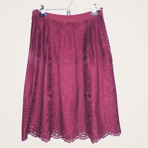 Alya Maroon lace skirt, size MD